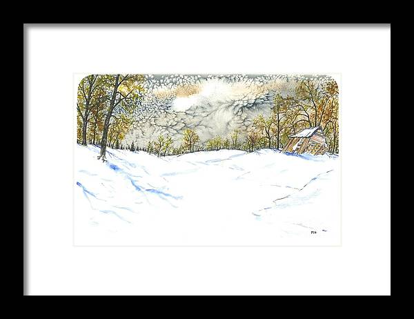Texture Framed Print featuring the painting Snow Sky by Patrick Grills