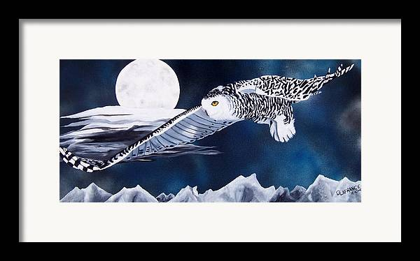 Owl Framed Print featuring the painting Snowy Flight by Debbie LaFrance