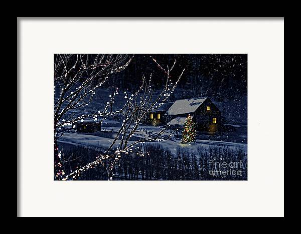 Architecture Framed Print featuring the photograph Snowy Winter Scene Of A Cabin In Distance by Sandra Cunningham