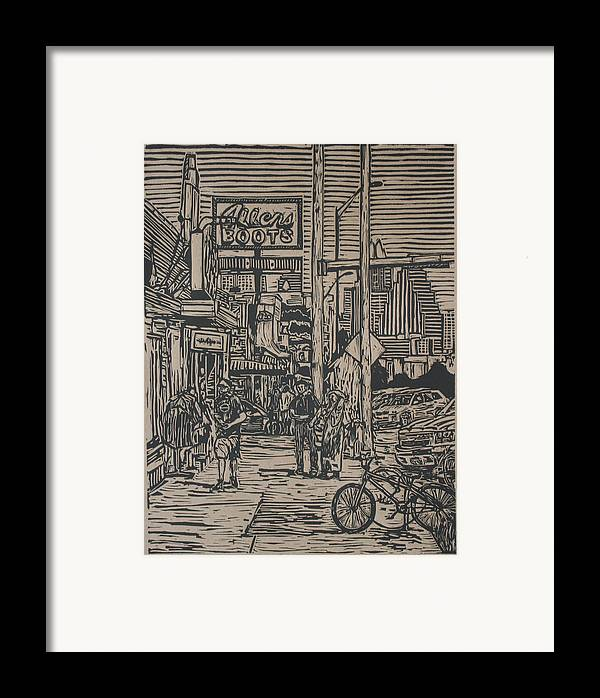 Austin Framed Print featuring the drawing South Congress by William Cauthern