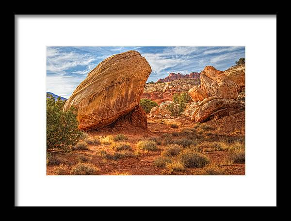 Capitol Reef National Park Framed Print featuring the photograph Southwest Desert Scene by Douglas Pulsipher