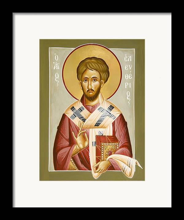 St Eleftherios Framed Print featuring the painting St Eleftherios by Julia Bridget Hayes
