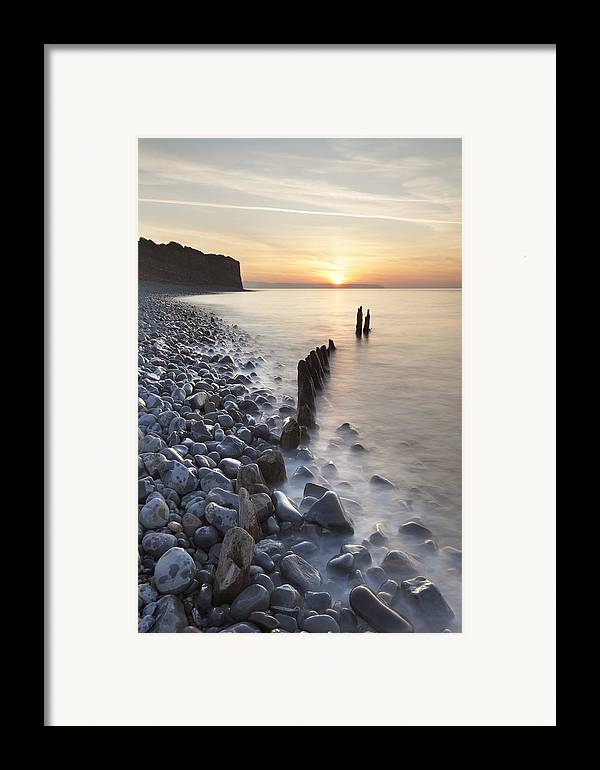 Vertical Framed Print featuring the photograph Sunset At The Remains Of Lilstock Pier by Nick Cable