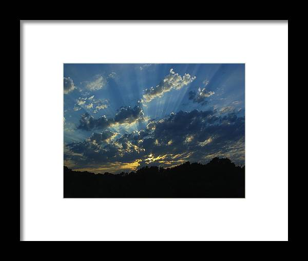 Sky Framed Print featuring the photograph Sunset Blues by Ramie Liddle
