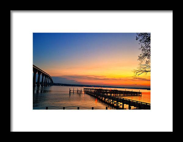 Sunset Framed Print featuring the photograph Sunset Bridge by Kelly Reber