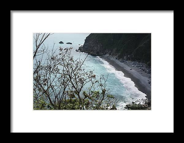 Ocean Framed Print featuring the digital art Taiwan Postcard 3 by Maxine Bochnia