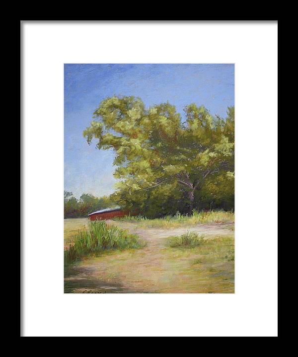 Tree Framed Print featuring the pastel Tennessee Barn by Carol Conrad