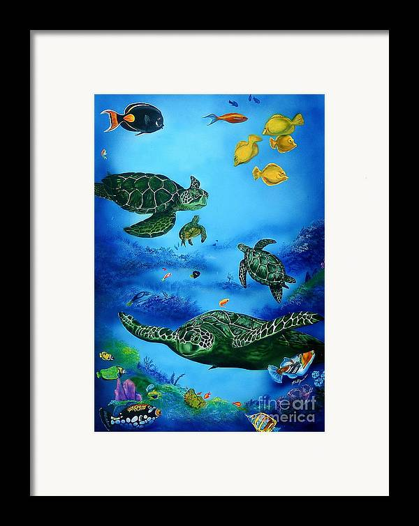 Turtles Framed Print featuring the painting The Beauty Below by Kathleen Kelly Thompson