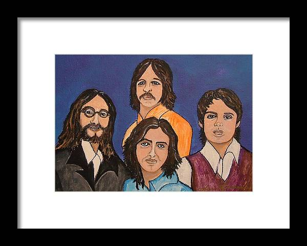 Singers Framed Print featuring the painting The Fab Four Beatles by Lois  Rivera