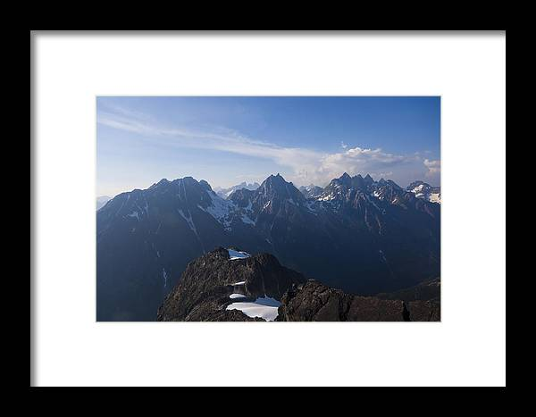 No People Framed Print featuring the photograph The Jagged Tops Of High Mountain Peaks by Taylor S. Kennedy