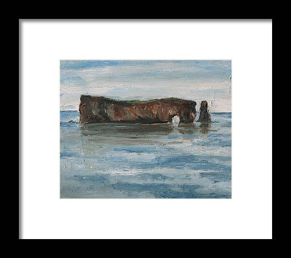 Fournier Framed Print featuring the painting The Rocher Perce Quebec Canada by Francois Fournier
