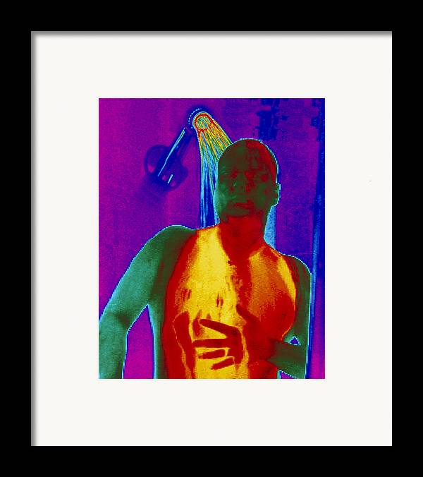 Thermogram Framed Print featuring the photograph Thermogram Of A Man Taking A Shower by Dr. Arthur Tucker