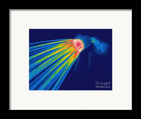 Thermogram Framed Print featuring the photograph Thermogram Of A Shower Head by Ted Kinsman