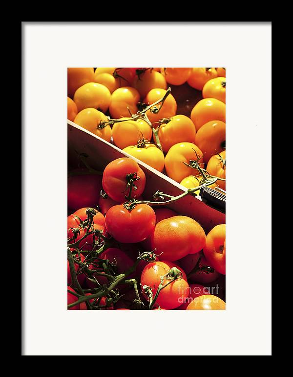 Tomato Framed Print featuring the photograph Tomatoes On The Market by Elena Elisseeva