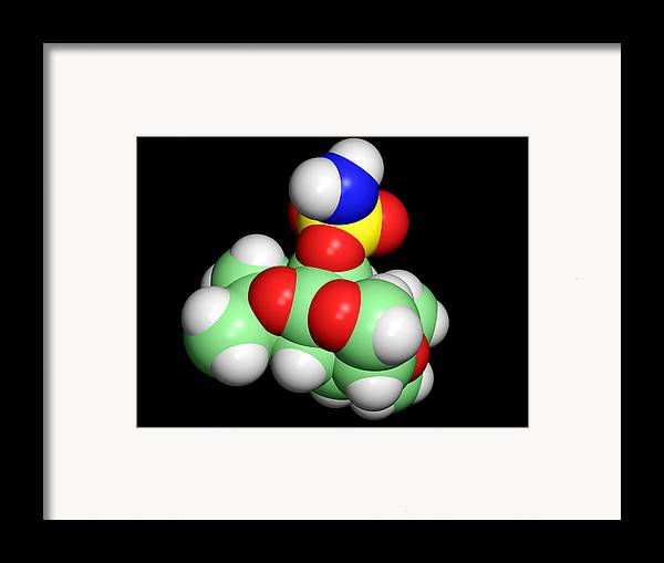 Topamax Framed Print featuring the photograph Topiramate Molecule, Anti-epilepsy Drug by Dr Tim Evans