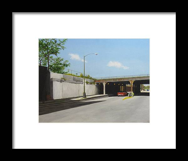 Cityscape Framed Print featuring the painting Traffic On Damen by Meredith Dytch