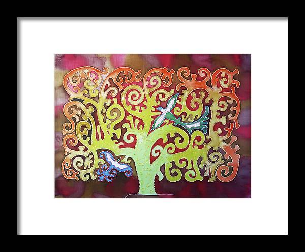 Framed Print featuring the painting Kazaksha Tree Of Life by Alice M Lentesco