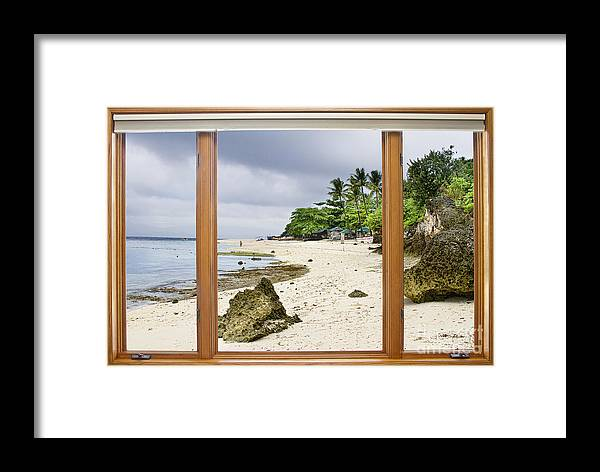 Tropical Framed Print featuring the photograph Tropical White Sand Beach Paradise Window Scenic View by James BO Insogna