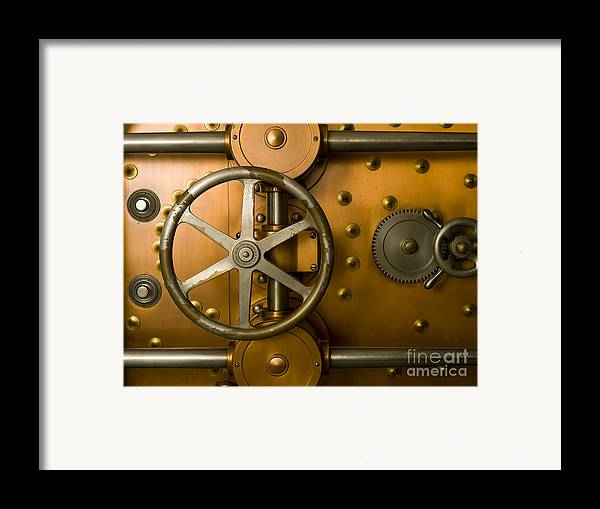 Architectural Framed Print featuring the photograph Tumbler Bank Vault Door by Adam Crowley