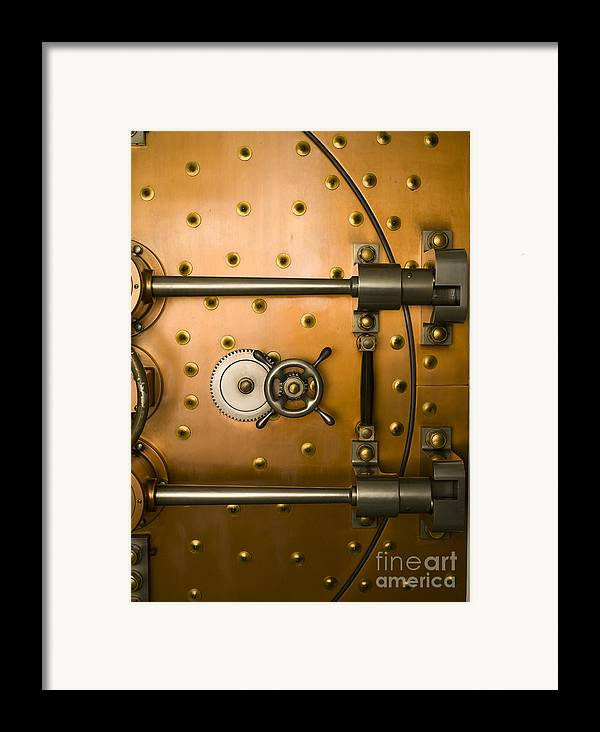 Architectural Framed Print featuring the photograph Tumbler On A Vault Door by Adam Crowley