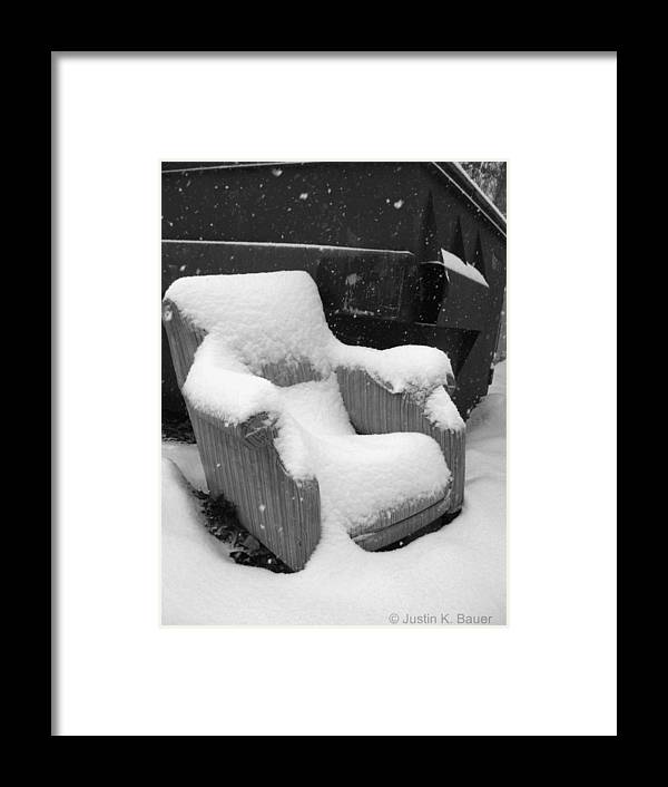 Chair Framed Print featuring the photograph Unwanted Chair Black And White by Justin Bauer