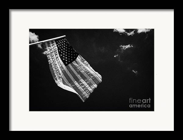 American Framed Print featuring the photograph Us American Flag On Flagpole Against Blue Cloudy Sky Usa by Joe Fox