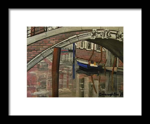 Venice Framed Print featuring the painting Venice Bridge by John Connaughton