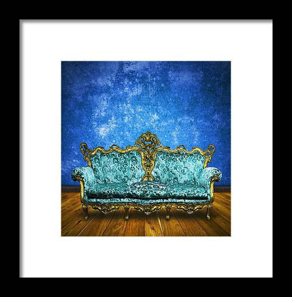 Antique Framed Print featuring the photograph Victorian Sofa In Retro Room by Setsiri Silapasuwanchai