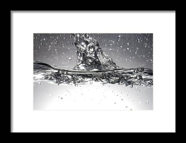 Liquid Framed Print featuring the photograph Water, High-speed Photograph by Crown Copyrighthealth & Safety Laboratory