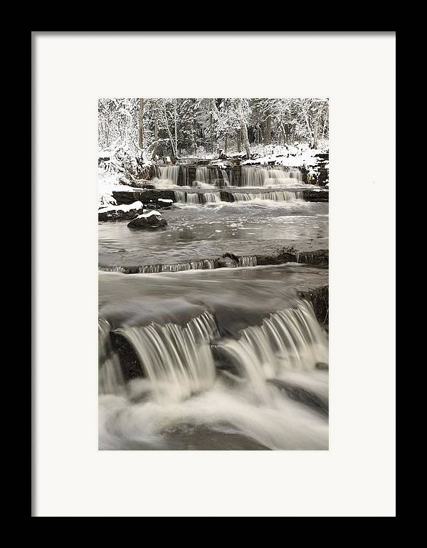 Cascade Framed Print featuring the photograph Waterfalls With Fresh Snow Thunder Bay by Susan Dykstra