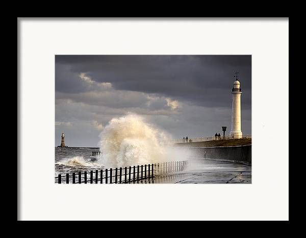 Crashing Framed Print featuring the photograph Waves Crashing, Sunderland, Tyne And by John Short
