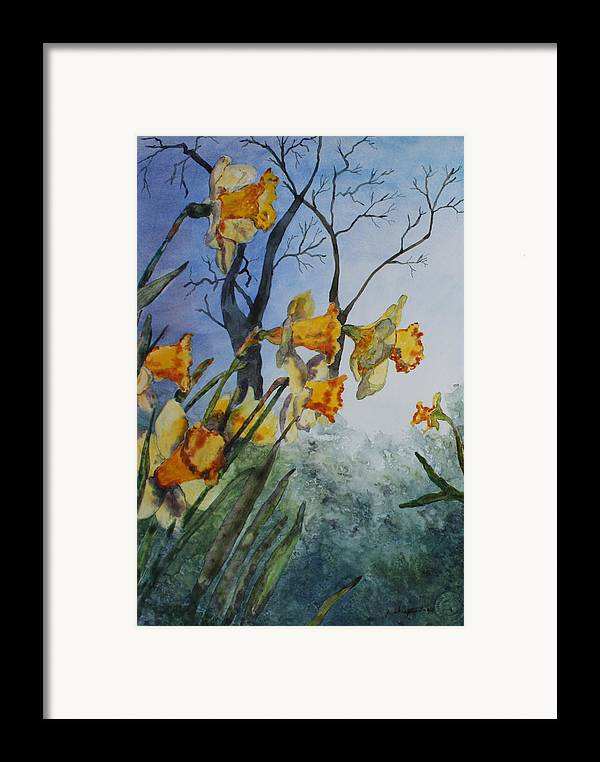 Floral Framed Print featuring the painting Welcome Springtime by Patsy Sharpe