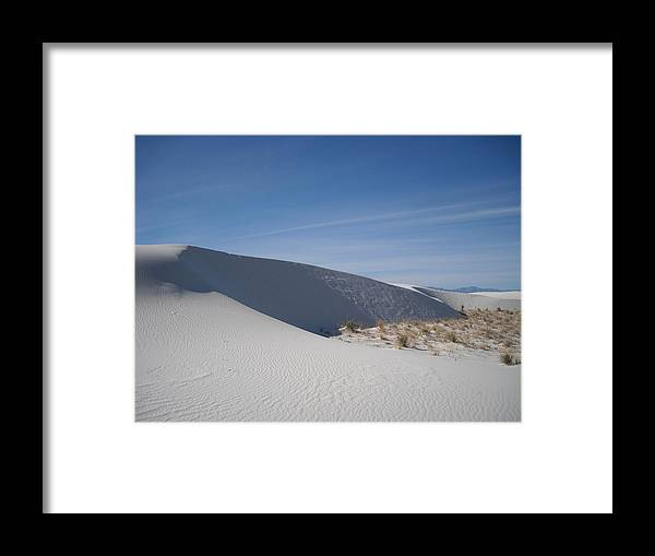Landscape Framed Print featuring the painting White Sands by Randy Rhodes