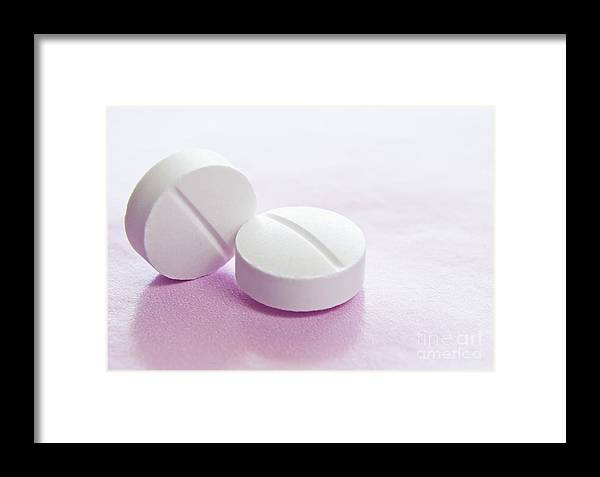 Antibiotics Framed Print featuring the photograph White Tablets by Blink Images