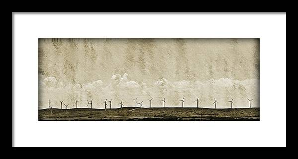 Alternative Framed Print featuring the photograph Windmills In A Row by Malania Hammer