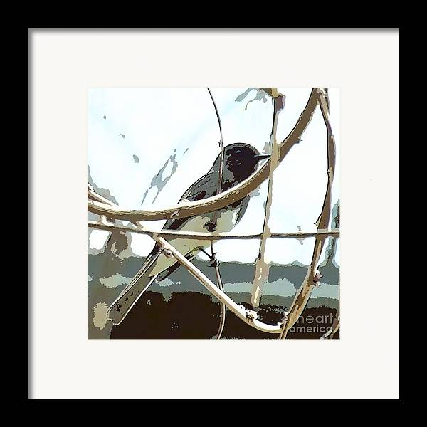 Bird On A Vine In The Winter Framed Print featuring the digital art Winter Bird by Artist and Photographer Laura Wrede