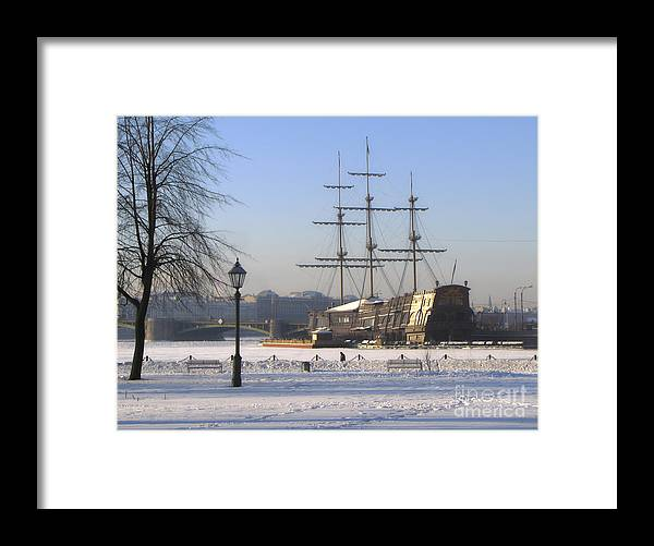Ship Framed Print featuring the photograph winter Peterburg by Yury Bashkin