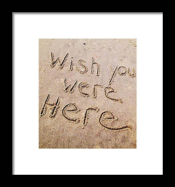 Framed Print featuring the pyrography Wish You Were Here by Alecia Pashia