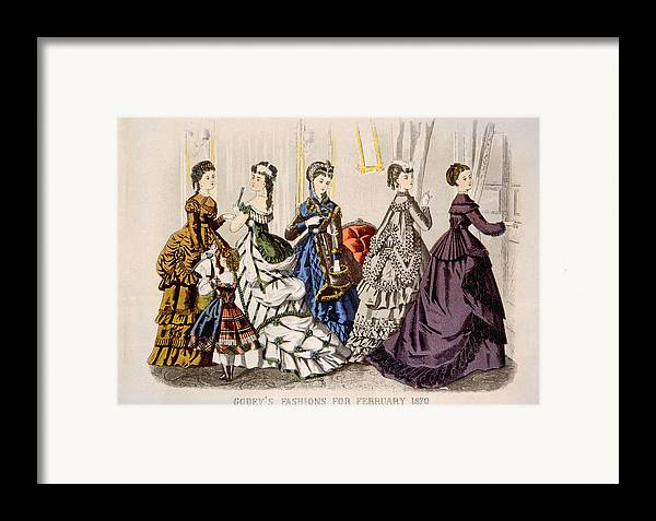 1870s Fashion Framed Print featuring the photograph Womens Fashions From Godeys Ladys Book by Everett