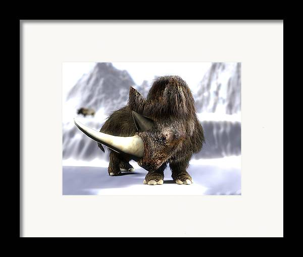 Coelodonta Antiquitatis Framed Print featuring the photograph Woolly Rhinoceros by Christian Darkin