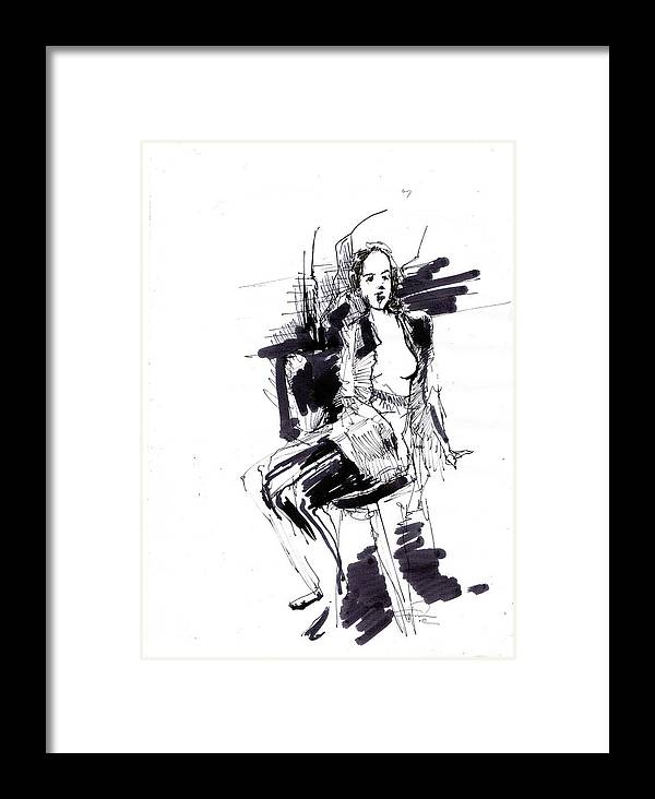 Model Framed Print featuring the drawing Model by Ertan Aktas