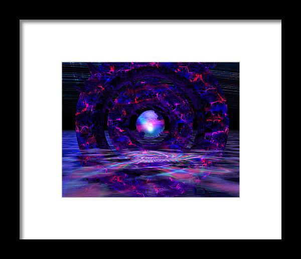 Abstract Framed Print featuring the digital art 141 Circle Of Dragons by Scott Bishop