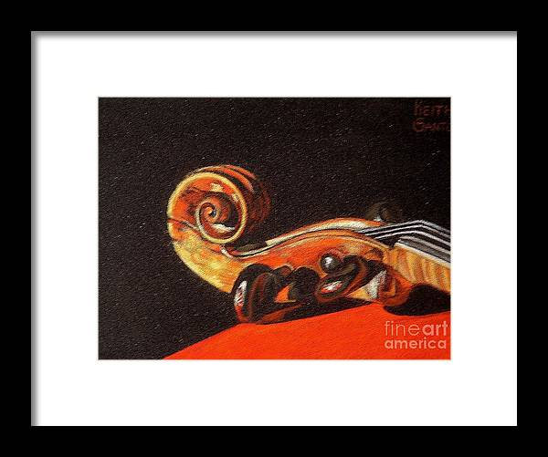 Violin Framed Print featuring the pastel 1776 by Keith Gantos