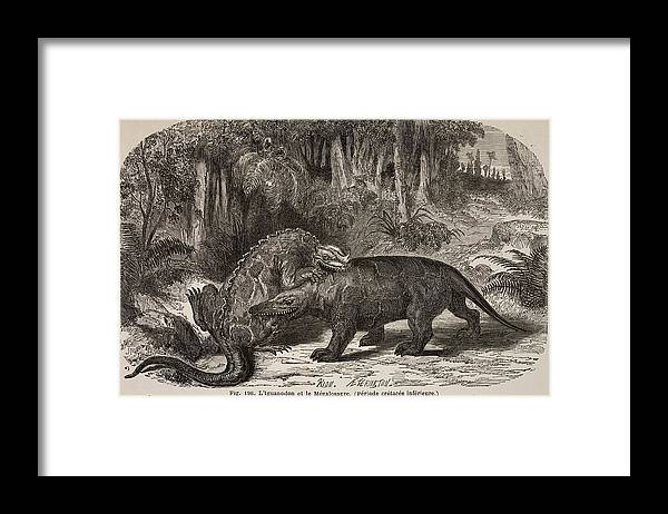 Buckland Framed Print featuring the photograph 1863 Figuier Iguanodon And Megalosaurus by Paul D Stewart