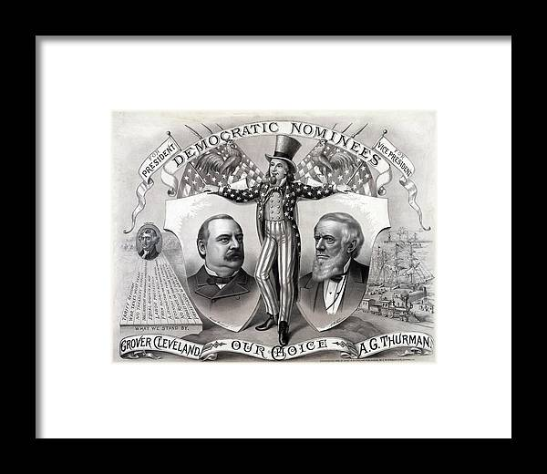 History Framed Print featuring the photograph 1888 Democratic Presidential Campaign by Everett