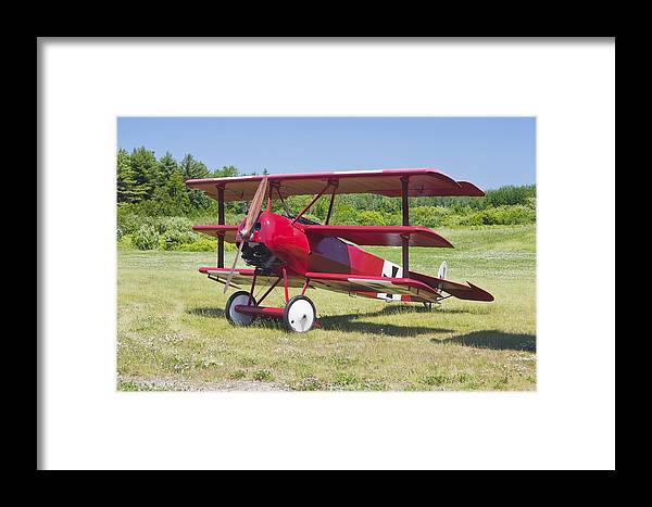 Red Barron Framed Print featuring the photograph 1917 Fokker Dr.1 Triplane Red Barron Canvas Photo Print Poster by Keith Webber Jr