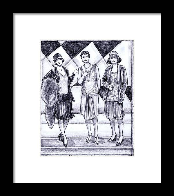 Nostalgia Framed Print featuring the drawing 1920s Styles by Mel Thompson