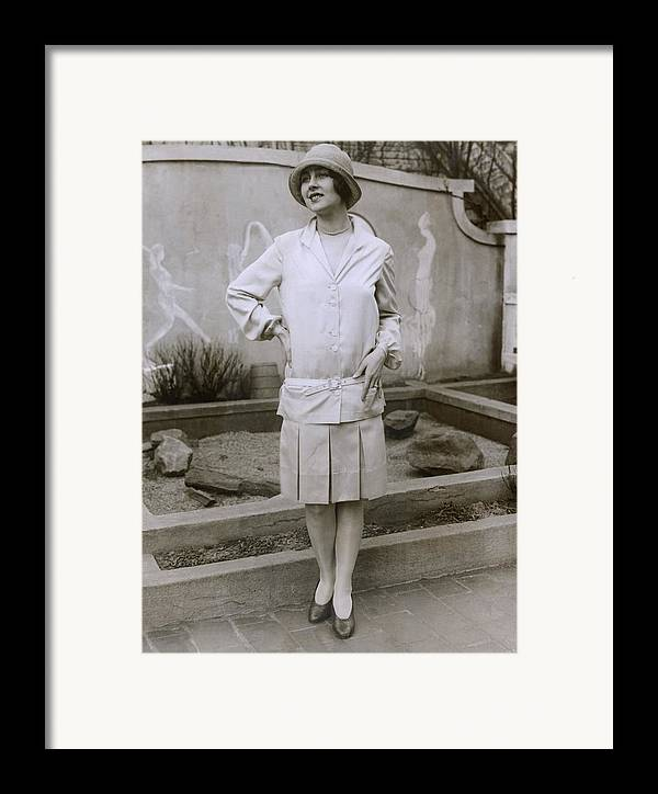 History Framed Print featuring the photograph 1927 Suit With A Mid-knee Pleated Skirt by Everett