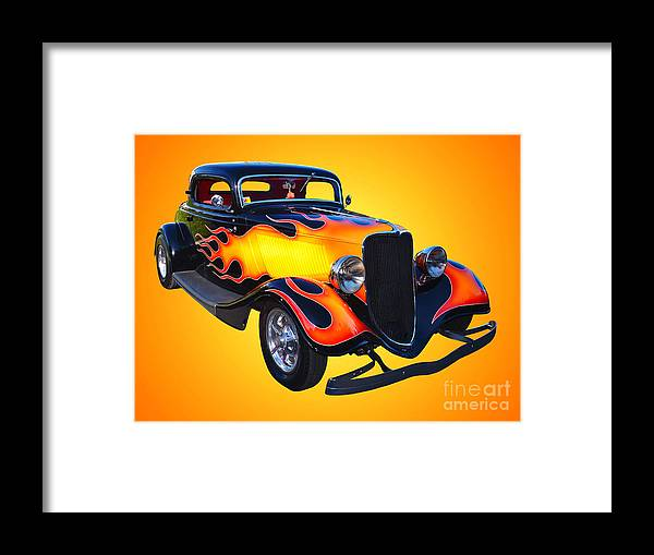 Car Framed Print featuring the photograph 1934 Ford 3 Window Coupe Hotrod by Jim Carrell