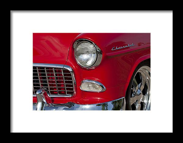 1955 Chevrolet 210 Framed Print featuring the photograph 1955 Chevrolet 210 Front End by Jill Reger
